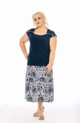 """Костюм """"Розы на меланже"""" футболка с отделочной бейкой, юбка-татьянка"""