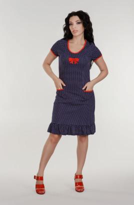 Платье х/б пенье с отделочными бейками, вышивка бант