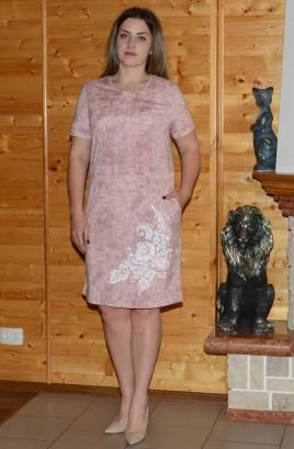 Платье с планкой и печатью по полочке