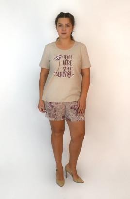 Костюм с шортами, футболка с печатью
