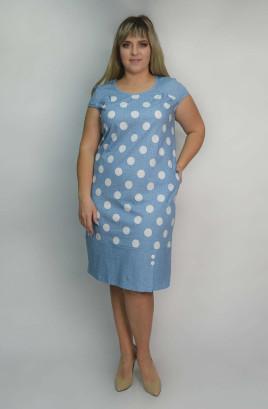 Платье с однотонными кокетками