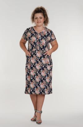 """Платье """"Марфа"""" х/б отделочные застёжка и воротник"""