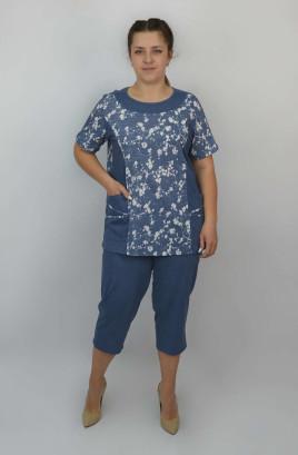Костюм капри и футболка комбинированная с однотонными вставками