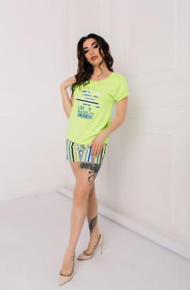 """Костюм """"Неоновая полоска"""" шорты и однотонная футболка с печатью"""