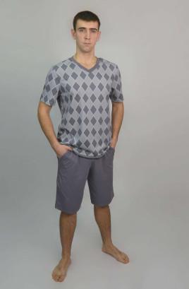 """Костюм муж. """"Ромбы"""" с шортами, футболка с V-образной горловиной"""