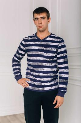 Пуловер мужской с V-образной горловиной и нагрудным карманом