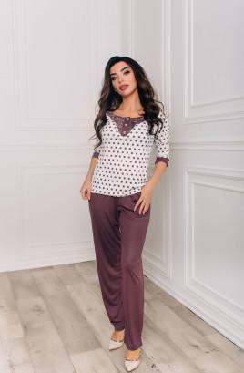 """Костюм """"Жозефина"""" мелисса брюки + однотонная блузка с кружевами по горловине"""